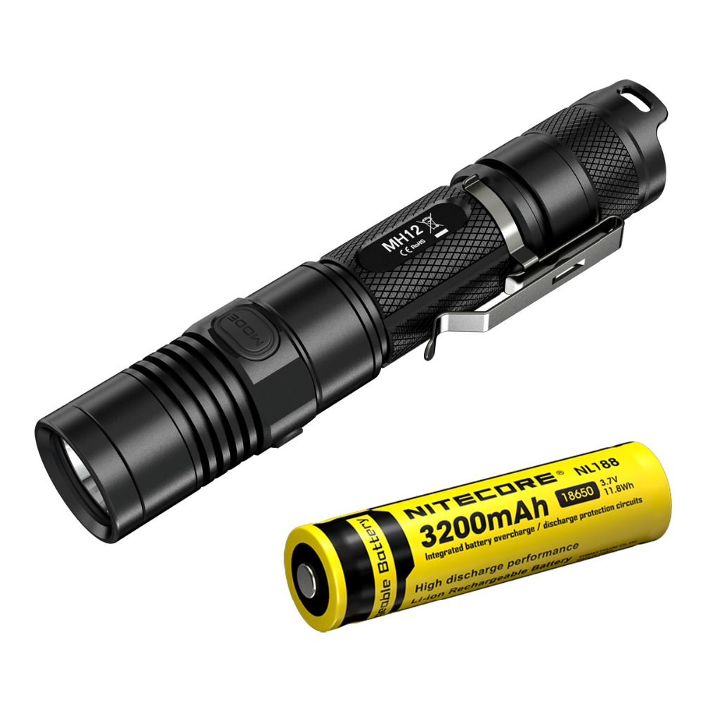 Discount NITECORE MH12 XM-L2 U2 LED Rechargeable Flashlight 1000LMs Search Rescue Portable Torch + 3200mAh Battery Free Shipping sale nitecore 1000lumen mh12 mh12w xm l2 u2 led rechargeable flashlight search rescue portable torch 18650 battery free shipping