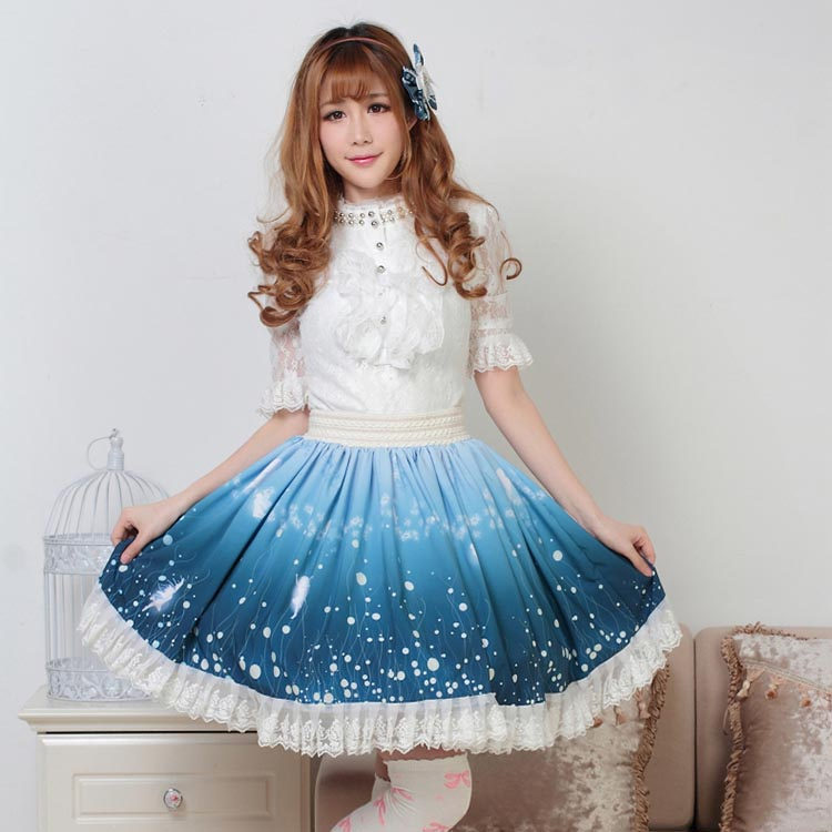 Fairy Royal Princess Blue Length Lace Skirt Knee Pixy Tale Lolita Star Sky Elf Firefly Print Magic Cosplay Pleated Skirts Bx0HrwBqY