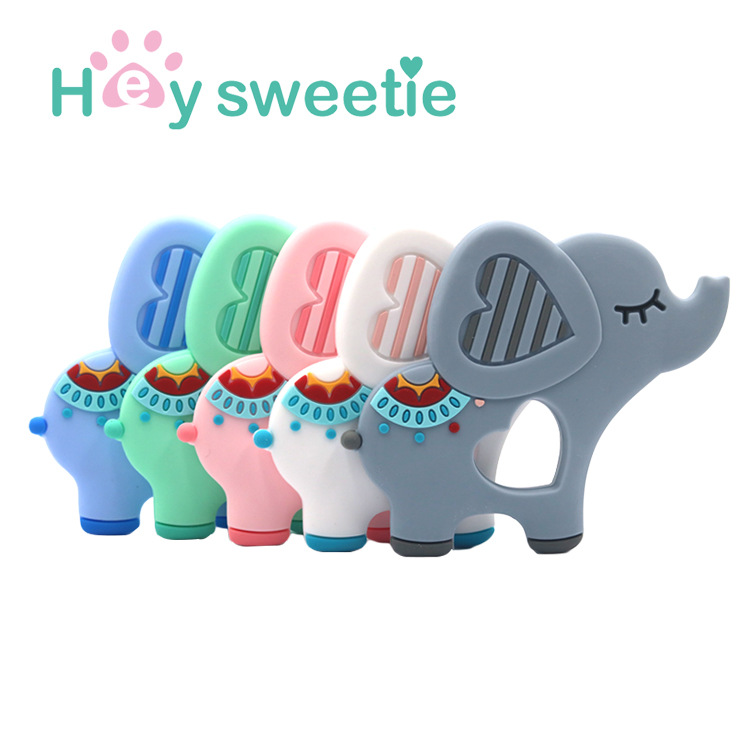 Food Grade Silicone Teethers DIY Animal Elephant Baby Ring Teether Infant Baby Silicone Chew Charms Teething Gift Toddler Toys
