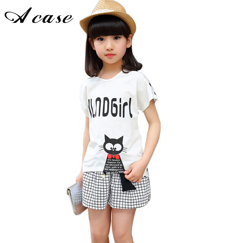 2018 New Girls Clothing Set Casual Summer Kids Children Clothes Cartoon Cat T-shirt + Plaid Short Pants Girls Suits 3-14 Years