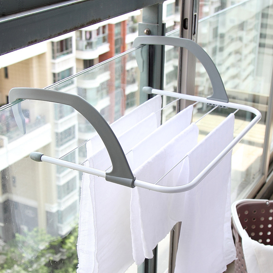 Collapsible towel clothes hanger multi-purpose clothes rack .