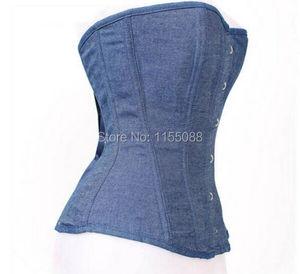 Image 3 - Dżinsy gorset kobiety odzież Sexy niebieski Denim gorset z koronkowe stringi gorset topy do noszenia