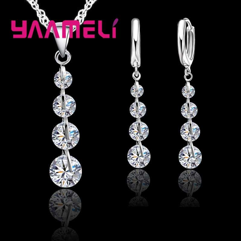 Fashion 925 Sterling Silver Bridal Jewelry Set For Women Tassel Cubic Zircon Pendant Necklace Earrings Sets Wedding Gift