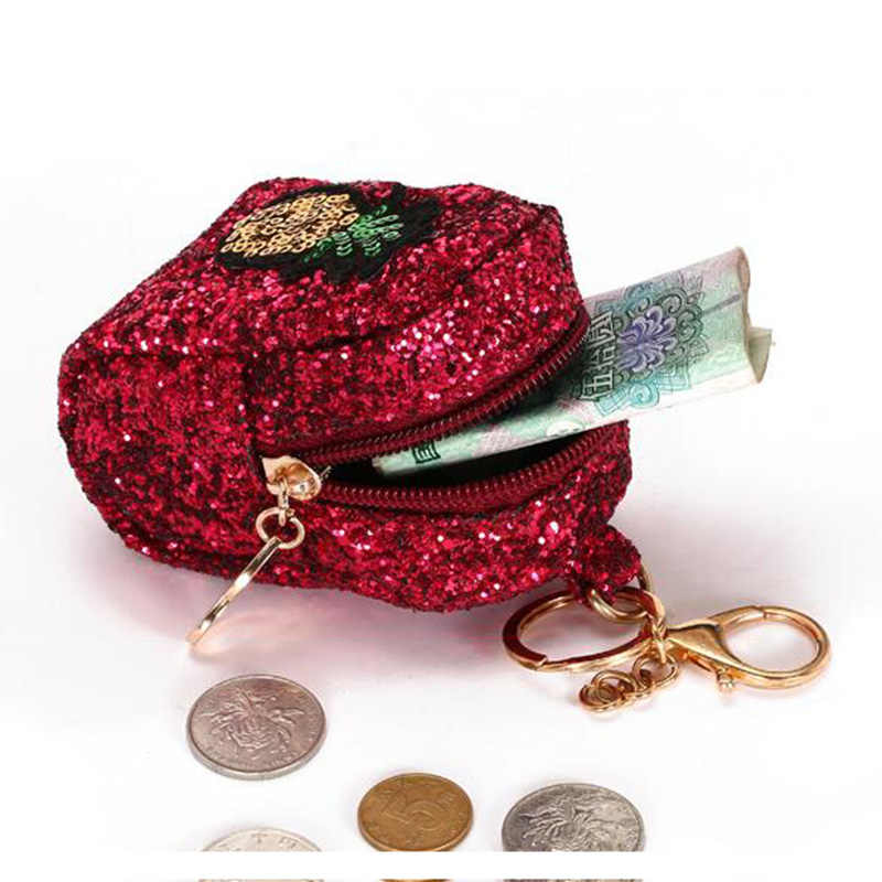 a968936062 BONAMIE Female Fashion Sequins Cartoon Embroidery Coin Purse Bling Bling  Woman Wallet Kid Purse Zipper Bag Paillette Money Bag