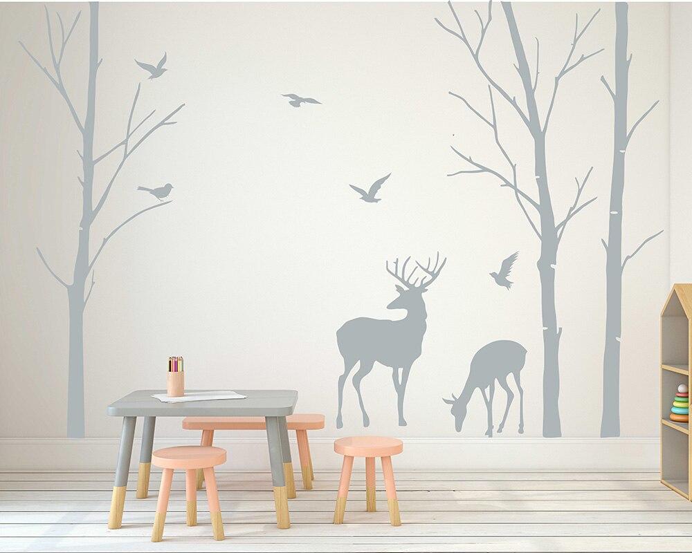 Deer Wall Decals Tree Nursery Wall Art Woodland Nursery Removable Sticker Birch Tree Wall Sticker Birds