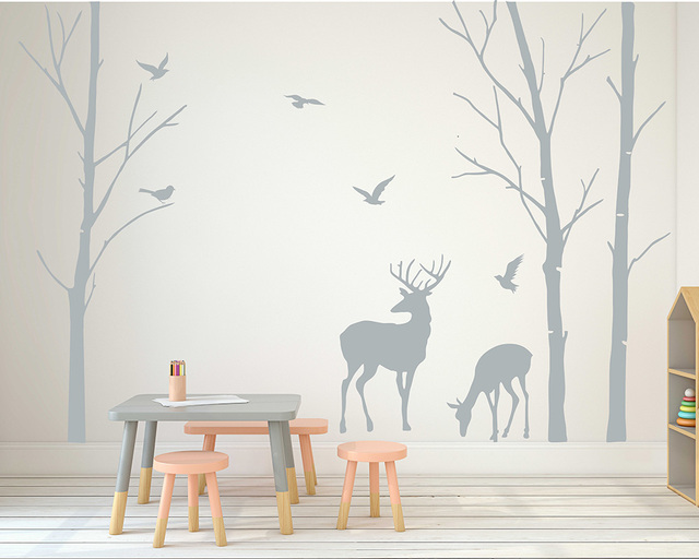 Deer Wall Decals Tree Nursery Art Woodland Removable Sticker Birch Birds