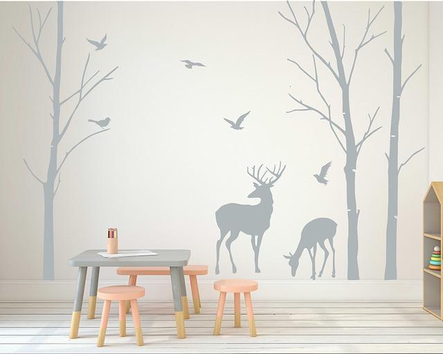 deer wall decals tree nursery wall art woodland nursery removable