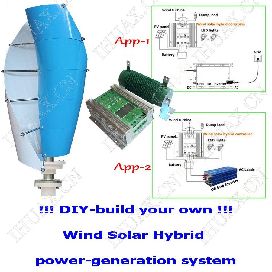 Buy 400w Maglev Wind Turbine Generator Vertical Diagram As Well Hybrid Solar Power System In Addition Grid Tie Axis 1200w Boost Mppt Wind600w 600w Controller Regulator From