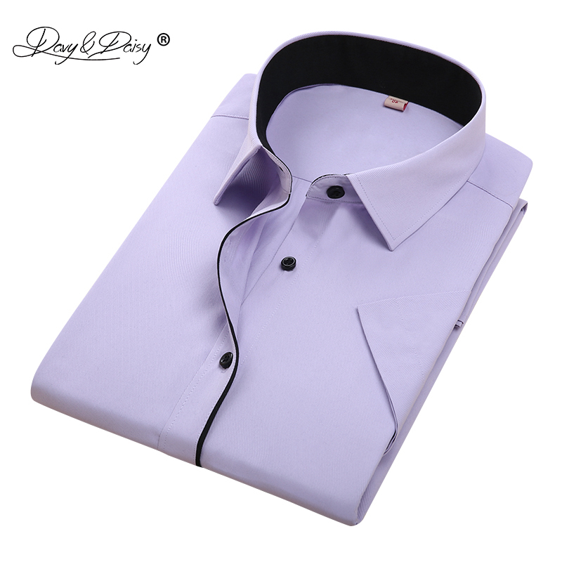 DAVYDAISY New Summer Men Shirt Short Sleeved Fashion Solid Male Shirts Brand Clothing Formal Business White Shirt Man DS187