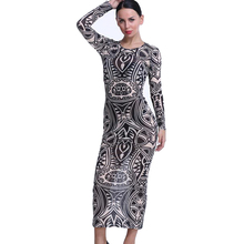 New Design Tribal Style Women Dress Long Sleeve Sexy Midi Printed Dresses For Ladies Women's Fashion Party Club Vestidos HD1729
