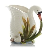 European Pastoral Style Flowers Butterfly White Swan Flowers Vases Ceramic Vase Ornaments Simple Milk Jar Vase Home Decor R1904