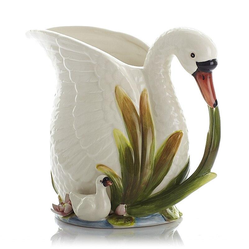 Style pastorale européen fleurs papillon blanc cygne fleurs Vases en céramique Vase ornements Simple pot de lait Vase décor à la maison R1904
