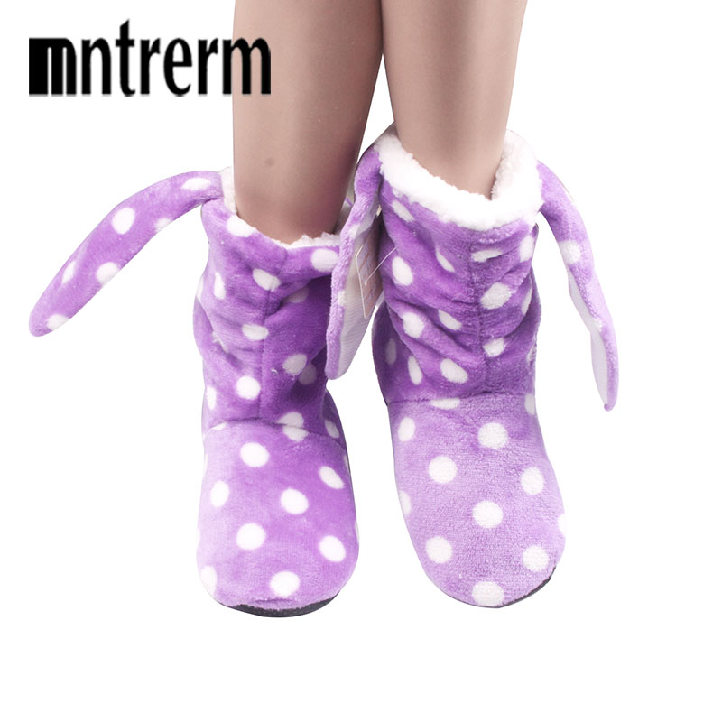 Mnterrm Fashion Plus Thick Velvet shoes woman 2016 Winter Slippers For Women Cute Plush Rabbit Ears Floor Slippers For Family velvet thick keep warm winter hat for women rabbit fur knitted beanies ladies female fashion skullies elegant hats for women