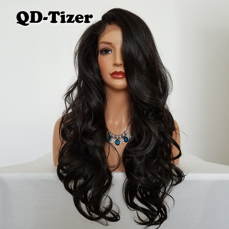 QD Tizer Long Body Wave Synthetic Lace Wig Glueless Brown Color Free Part Heat Resistant Synthetic