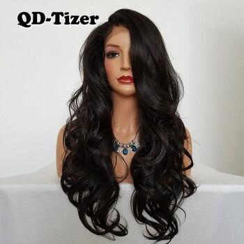 QD-Tizer Long Corps Ondulés Synthétique Dentelle Perruque Sans Colle Brun Couleur Livraison Partie Résistant À La Chaleur Synthétique Avant de Lacet Perruque pour les Femmes
