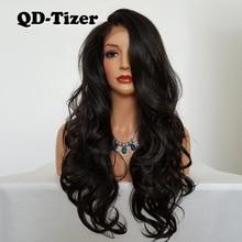QD Tizer длинный волнистый синтетический парик на сетке без клея коричневого цвета с бесплатной частью термостойкий синтетический парик на сетке спереди для женщин