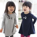 2016 size90~140 cotton child tops tees kids clothes children t-shirts for girls long sleeve t shirts cherry navy blue grey
