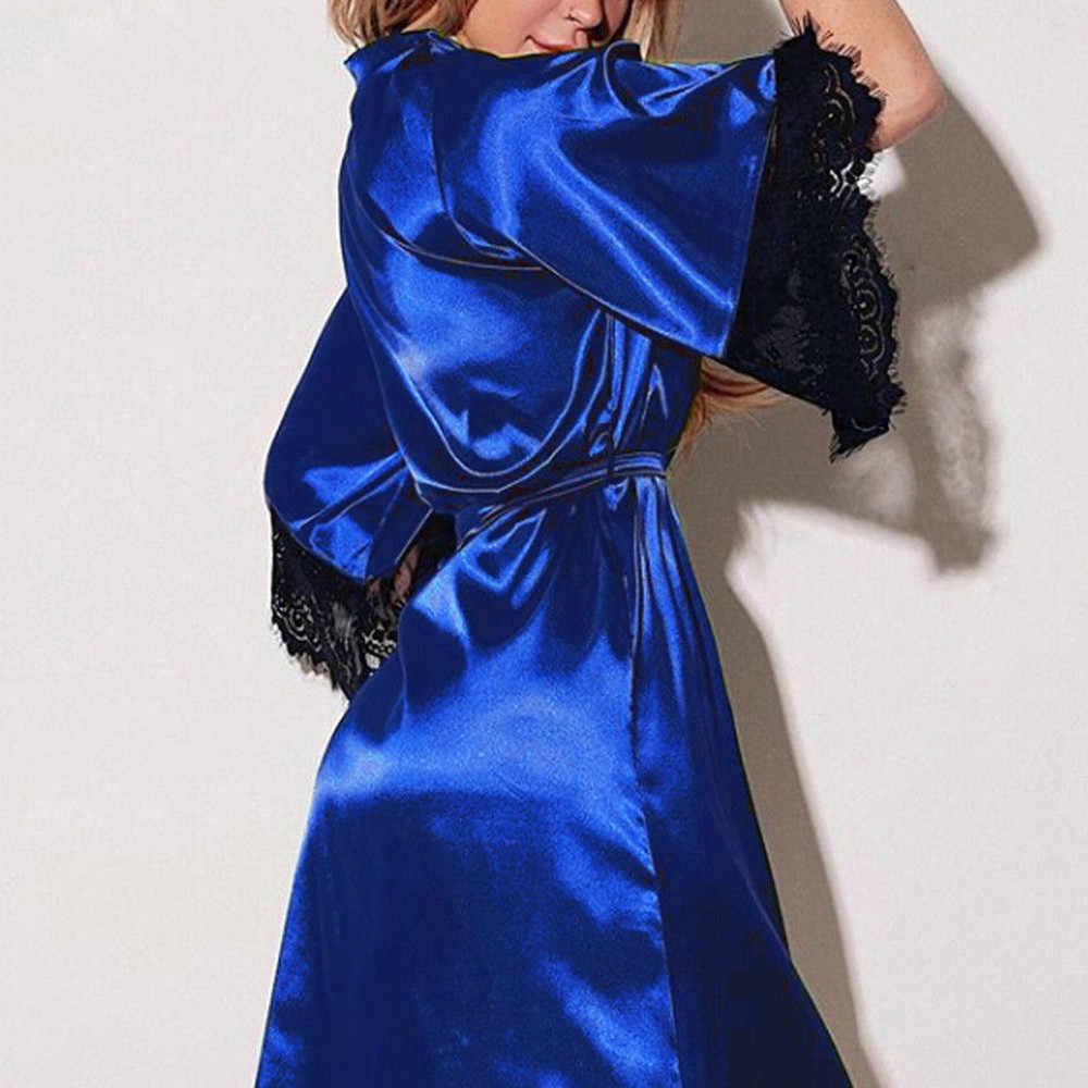 セクシーなナイトウェアパジャマ女性ローブバスローブサテン着物ドレッシングガウンレース d90613