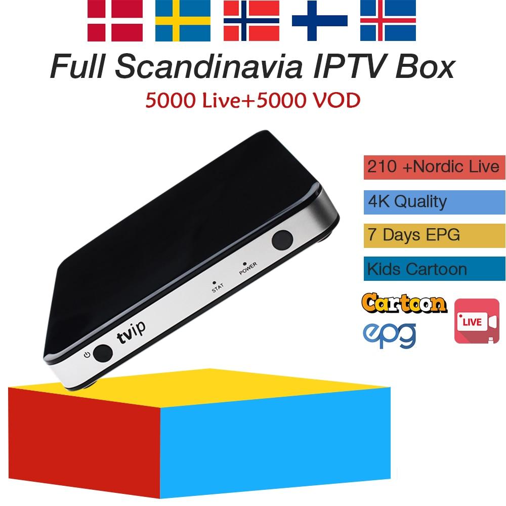 Suède iptv TVIP 605 tv box avec android Linux OS + 1 an nordique suède iptv abonnement en direct iptv livraison gratuite