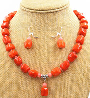 Fashion Natural Pink Orange CORAL Necklace Earring Gemstone Beads 18 Women Gift