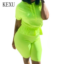 KEXU Two Piece Sets Women Rompers Hooded Top+short Pants Summer Short Sleeve Casual Playsuits Ladies Bodycon Streetwear Overalls