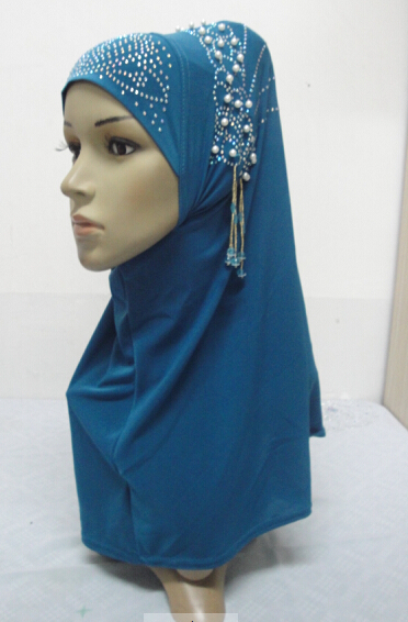 H849 muslim one piece hijab scarf with stones and beads assorted colors