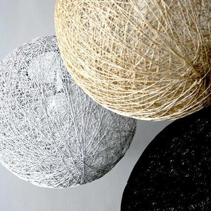 White Black Green Beige Wicker Ball Pendant Light Cotton