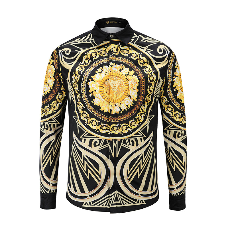 XIMIWUA 2019 New Fashion Men Shirt Dress Shirts 3d Golden Floral Print Lion Head Centered Casual Slim Fit Luxury Hawaiian Shirt