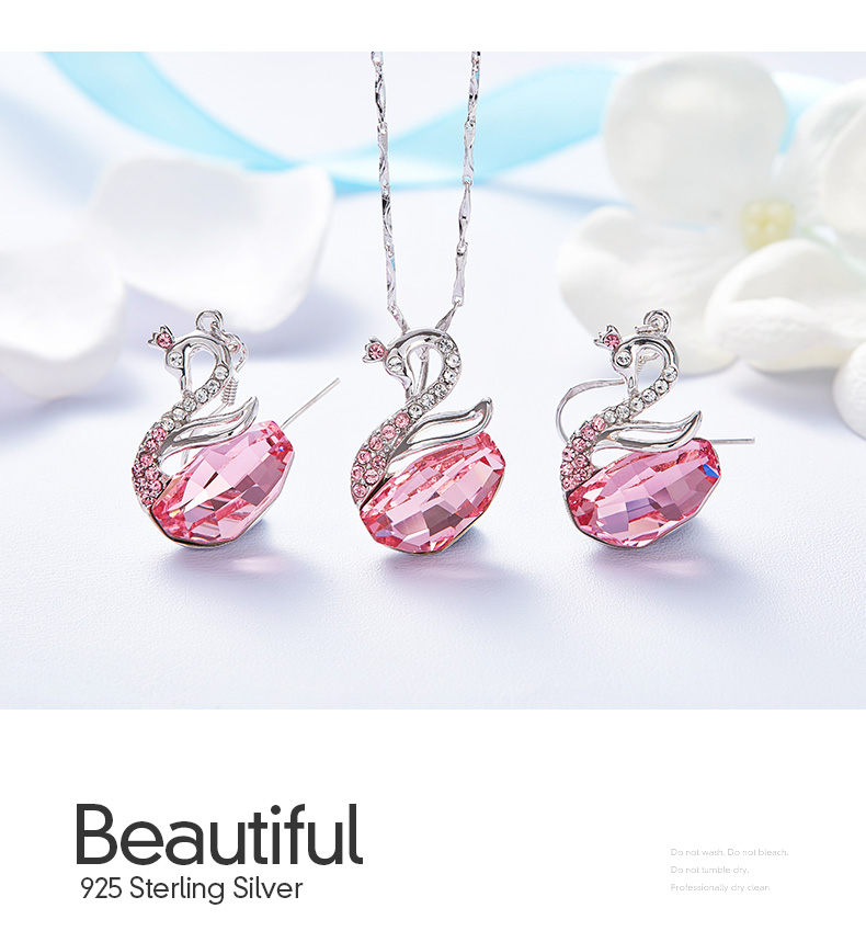Swarovski Swan Necklace Earrings Set (14)