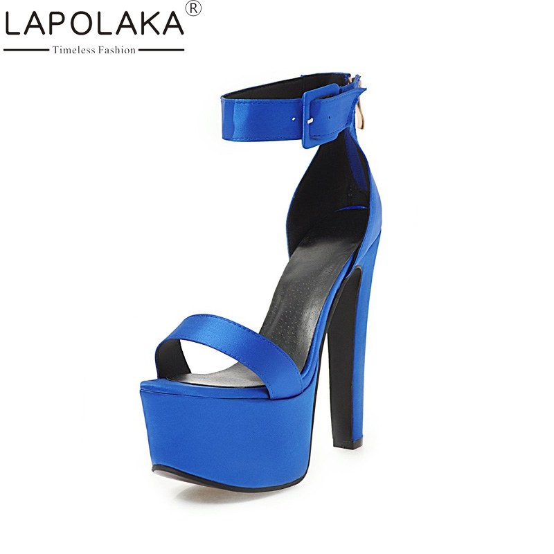LAPOLAKA Plus Size 33-48 Brand New High Heels Thick Platform Summer Sandals Woman Shoes Sexy Party Porm Women Shoes lapolaka 2018 brand new horsehair woman elegant wedges high heel women shoes platform black summer sandals women