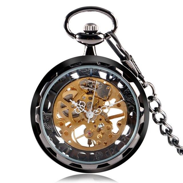 Luxury Exquisite Black Skeleton Steampunk Transparent Pocket Watch Mechanical Ha