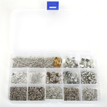 цена на Hot sell Jewelry Findings Kit Rhodium Plated Accessories Beads cap/jump rings/clasps/pins for jewelry making Free Shipping