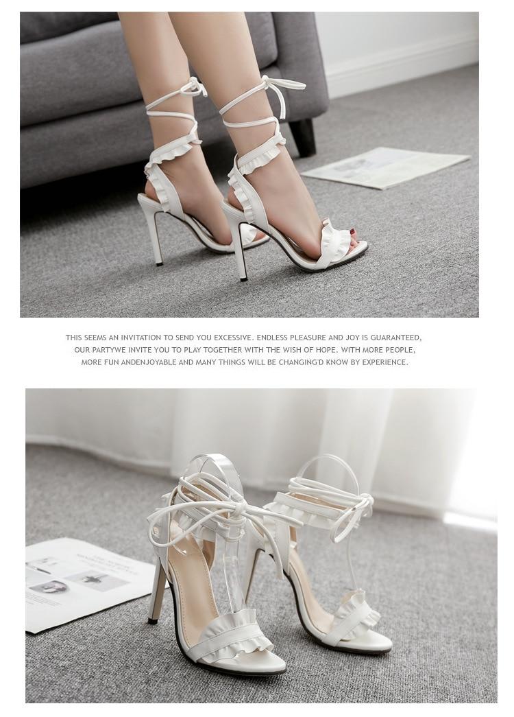LTARTA 2019 Top Sale Sandals Women's sandals Fish-mouth Lace-crossed High-heeled Shoes PLUS SIZE 43 11.5cm heels ZL-8888-17