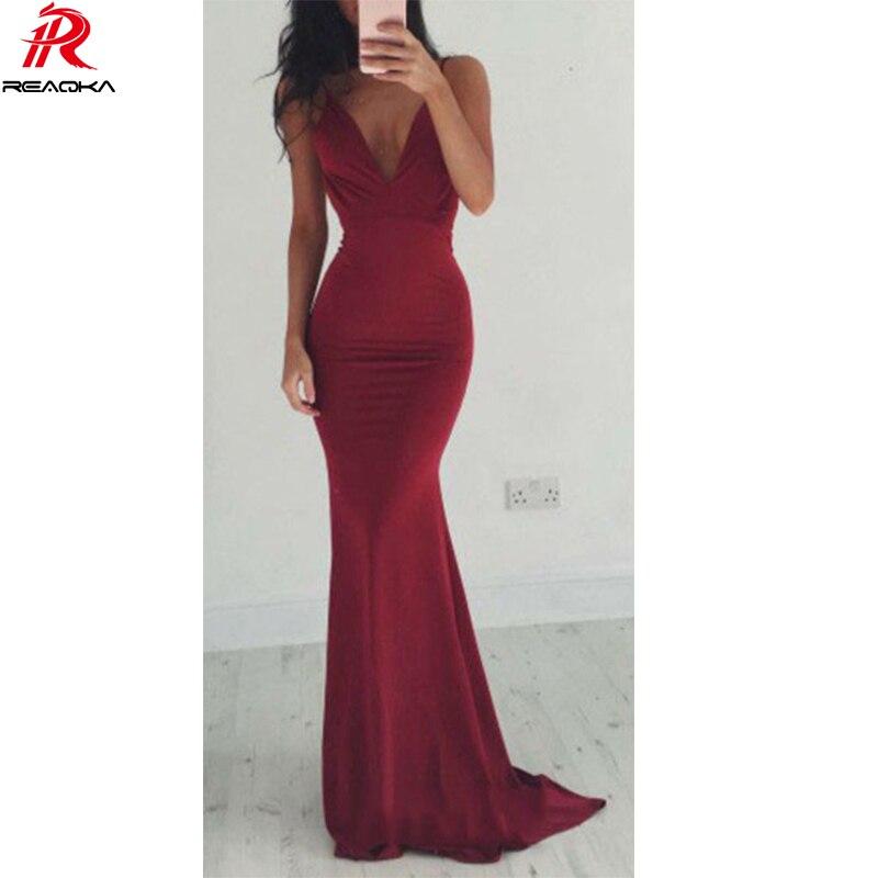 Reaqka Frauen Sexy Sommer Kleid Hochzeit Kleid 2018 Rot Womens Boho