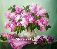 Needlework,For embroidery,DIY DMC Flower oil painting Lilac purple Cross stitch kits,Art Pattern counted Cross Stitching decor
