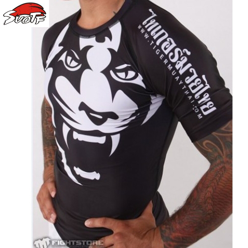 SUOTF 2015 New Tiger Muay Thai MMA Wearing Tight Fitting Short-sleeved Suit Sweatshirt Shuzhan Tai Boxing Boxing Free Shipping