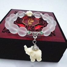 Náramek z přírodního krystalu s přívěskem slona pro štěstí