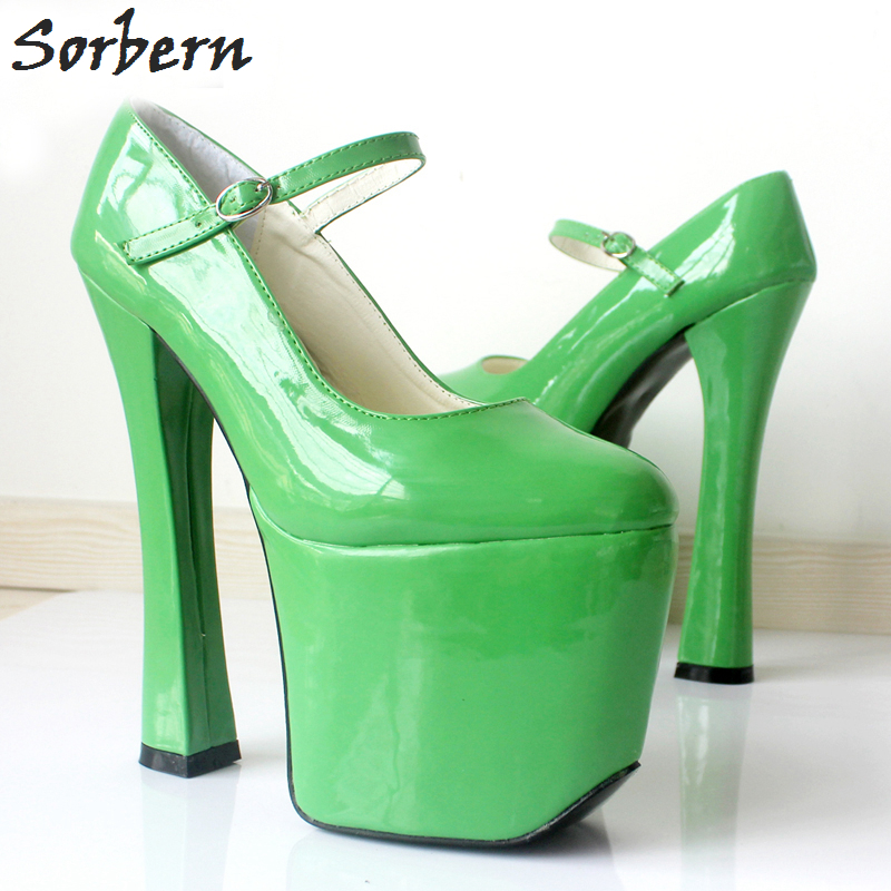Sorbern Unisex 7 1/2 Extrem High Heels Sexy Fetish Shoes Bdsm Platform Custom Pumps Mary Janes Round Toe Pump Shoes 2018 New 18cm 7 stiletto fetish sharp toe mary janes ankle wrap high heel pumps spike metal high heel bondage bdsm latex high heels