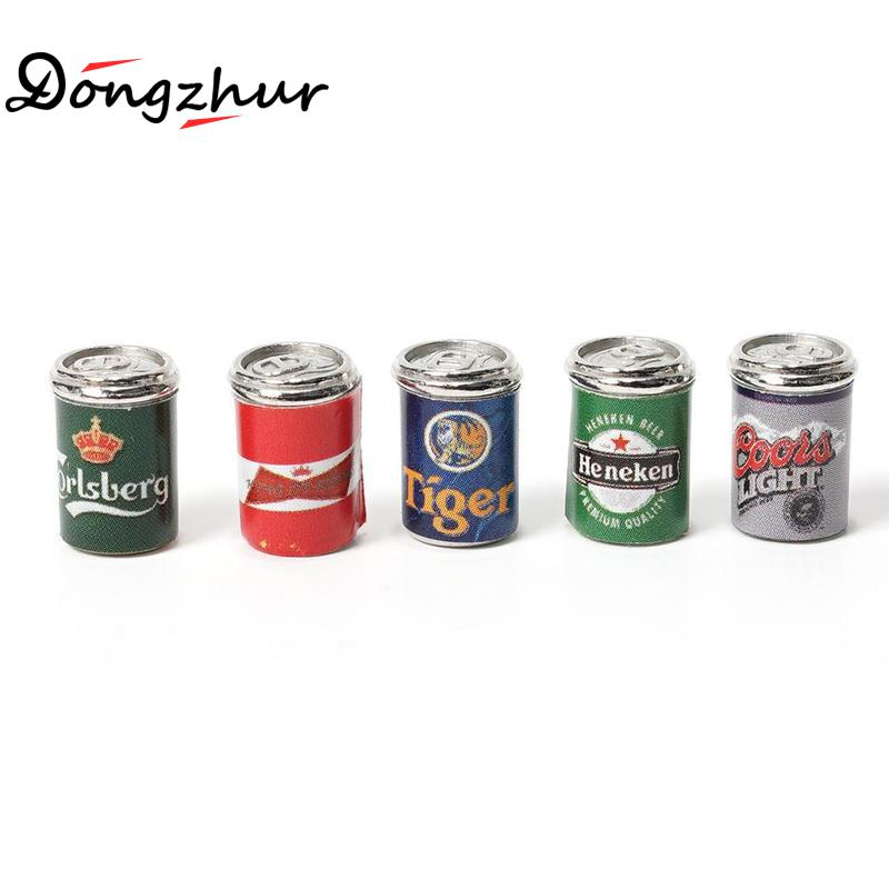 Dongzhur 1:12 Miniature Dollhouse Furniture 5* Drink Cans Decorations DIY Doll House Kitchen Accessories Cute Mini Cans Dropship