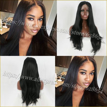 Natural Long Black Wig Hairstyles synthetic Lace Front Wig for Black Women Heat Resistant Long Black Wig 180 Density Middle Part