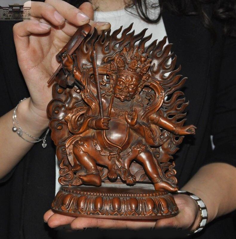 christmas Old Tibet Tantra fane Boxwood Wood Carved Mahakala Wrathful Deity Buddha Statue New Yearchristmas Old Tibet Tantra fane Boxwood Wood Carved Mahakala Wrathful Deity Buddha Statue New Year