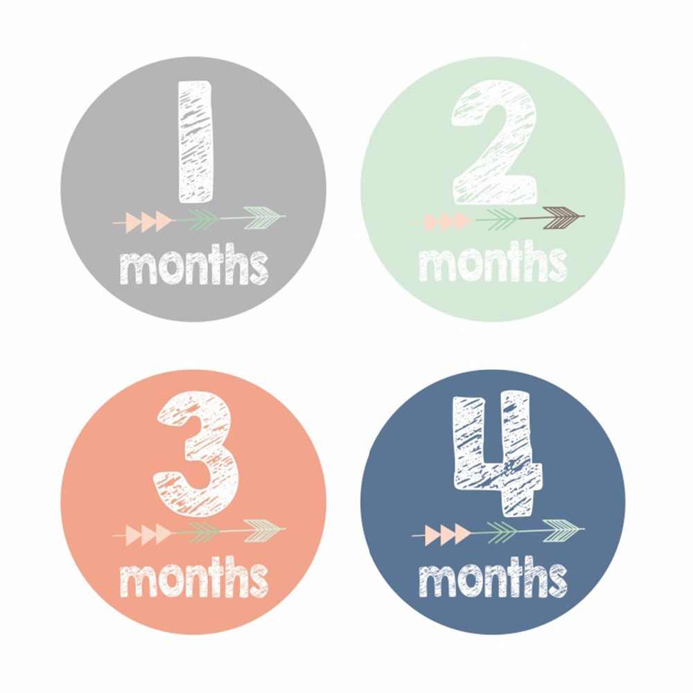 Baby Pregnant Women Monthly Photograph Stickers Fun Lovely Cartoon Arrow Pattern Month 1-12 Milestone Cloth Decoration Stickers