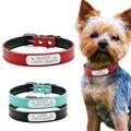 Collar de cuero personalizado para perro personalizado con nombre de gato y identificación, grabado gratis para perros pequeños y medianos