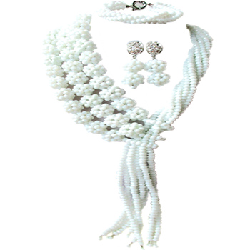 White African Necklace Crystal Beads Jewelry Set Nigerian Wedding Bridal Party Jewelry Sets 3CQST05