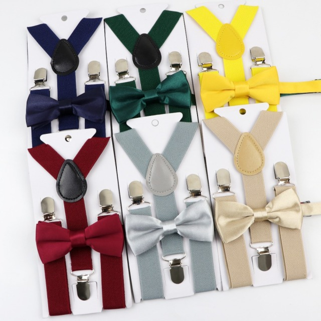 Soild Color Children Belt Bowtie Set Baby Boys Girls Suspenders Clip-on Y-Back Braces Bow Tie Elastic Kids Adjustable