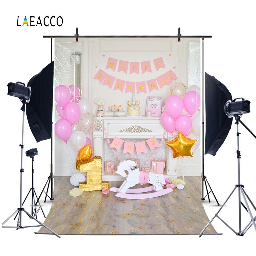 Laeacco Cute Balloons Horse 1 año de edad Fotografía de cumpleaños - Cámara y foto