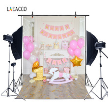 Laeacco Cute Balloons Horse 1 år gammel baby bursdag fotografi bakgrunner Vinyl Custom Photo Backdrops Props For Photo Studio