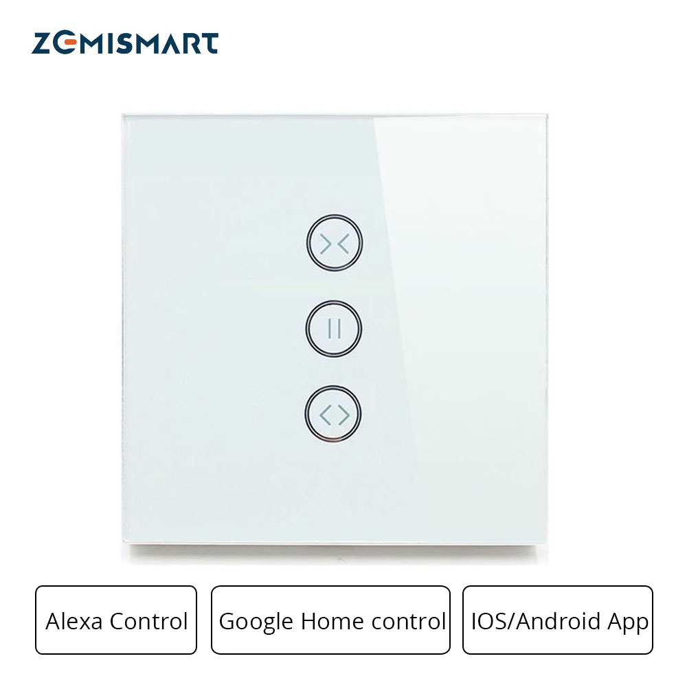 Zemismart inicial do google alexa eco interruptor de cortina interruptores cegos para o padrão do motor do rolo slide wifi app controle siri