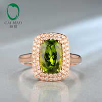 Caimao 7x10mm Cushion Cut 3.27ct Natrual Green Peridot Halo Pave Diamonds 14K Rose Gold Engagement Ring