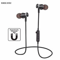 SMILYOU T5 Magnet Sport In Ear Bluetooth Earphone Earpiece Handsfree Stereo Headset Wireless Earphones With Mic